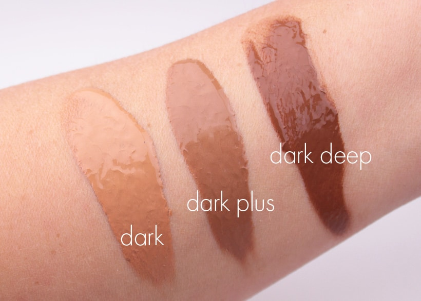 MAC Next to Nothing Face colour swatches dark plus deep MAC Next to Nothing Face Colour and Pressed Powder swatches and review