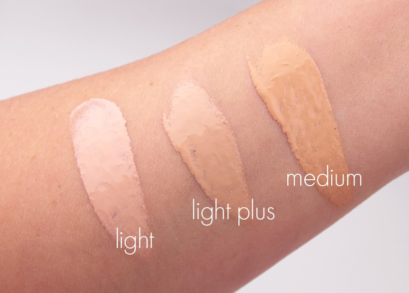 MAC Next to Nothing Face colour swatches light plus medium MAC Next to Nothing Face Colour and Pressed Powder swatches and review