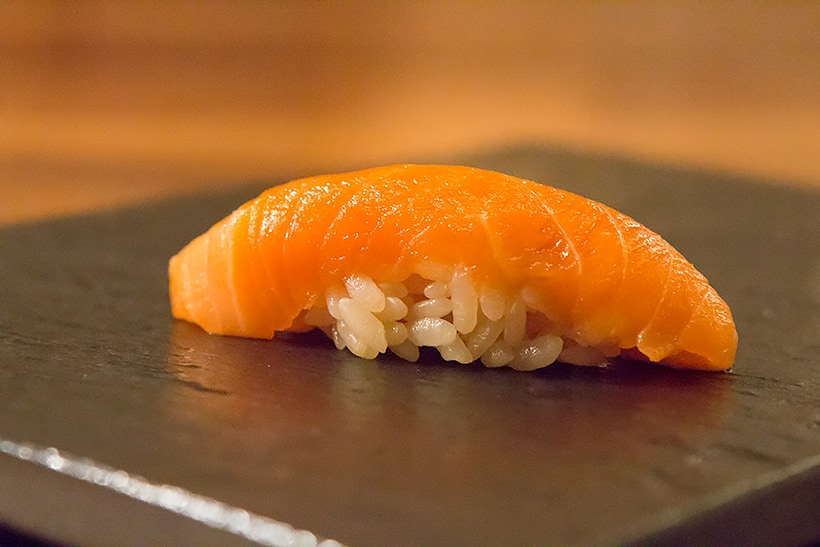 Wild King Salmon sushi from Alaska