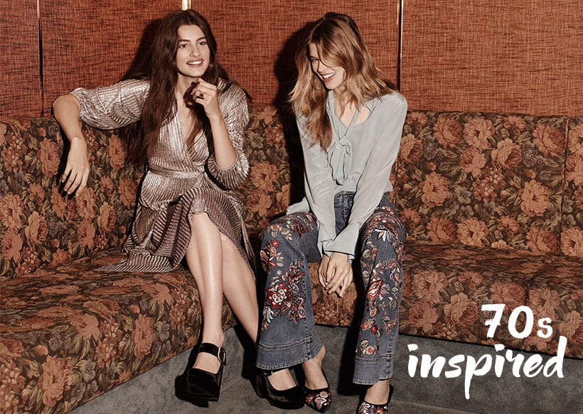 fall fashion luxe velvet and metallic 70s style clothing