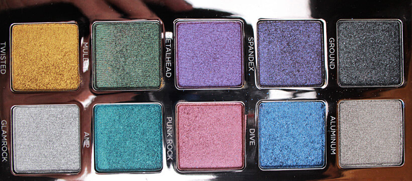 Urban Decay Heavy Metals Metallic Eyeshadow palette brights 2 Urban Decay Heavy Metals Metallic Palette swatches, looks and review