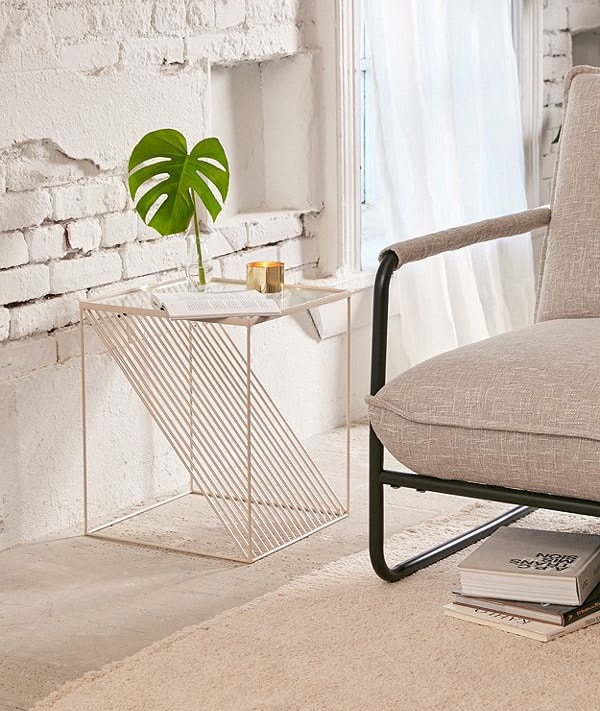 gold and glass metal side table from Urban Outfitters