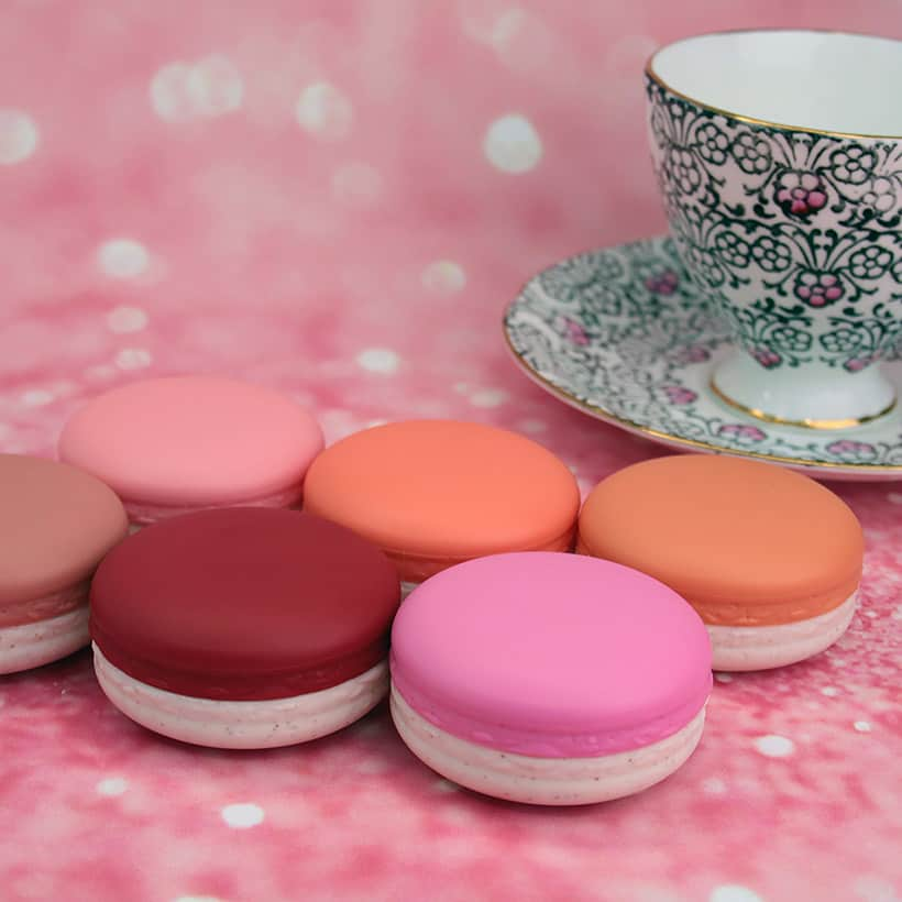 It's Skin Macaron Cream Filling Cheek blush in Apricot Jam with fine china teacup