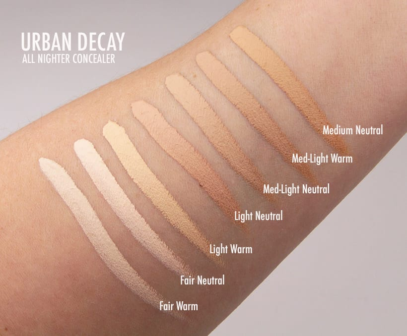 Urban Decay All Nighter Concealer light tone swatches We Swatched: Urban Decay All Nighter Waterproof Full Coverage Concealer