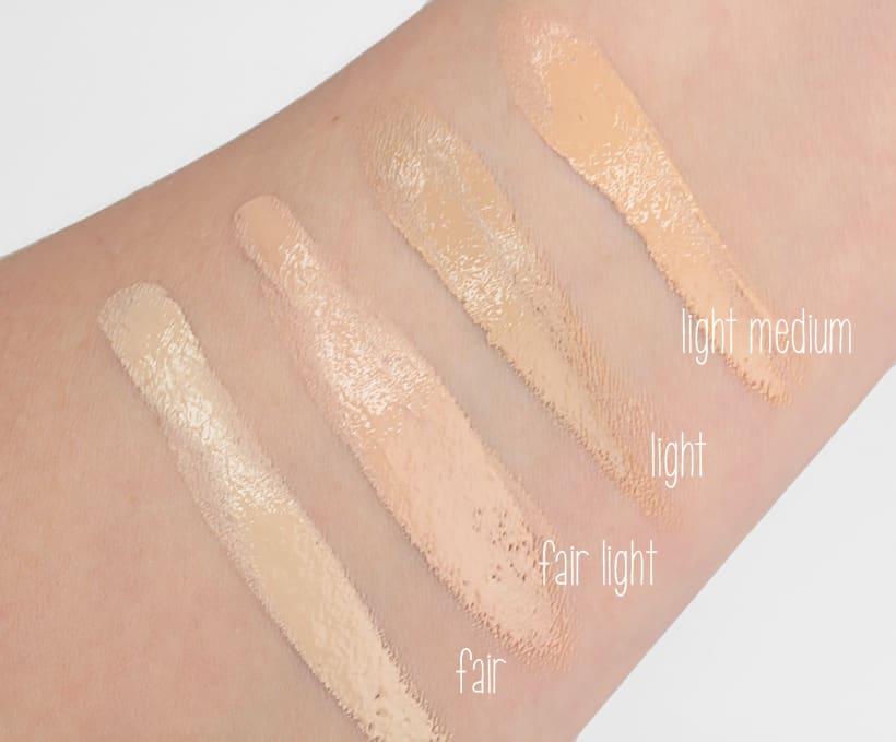 IT Cosmetics Bye Bye Foundation light medium swatches IT Cosmetics Bye Bye Foundation: swatches of all 12 shades