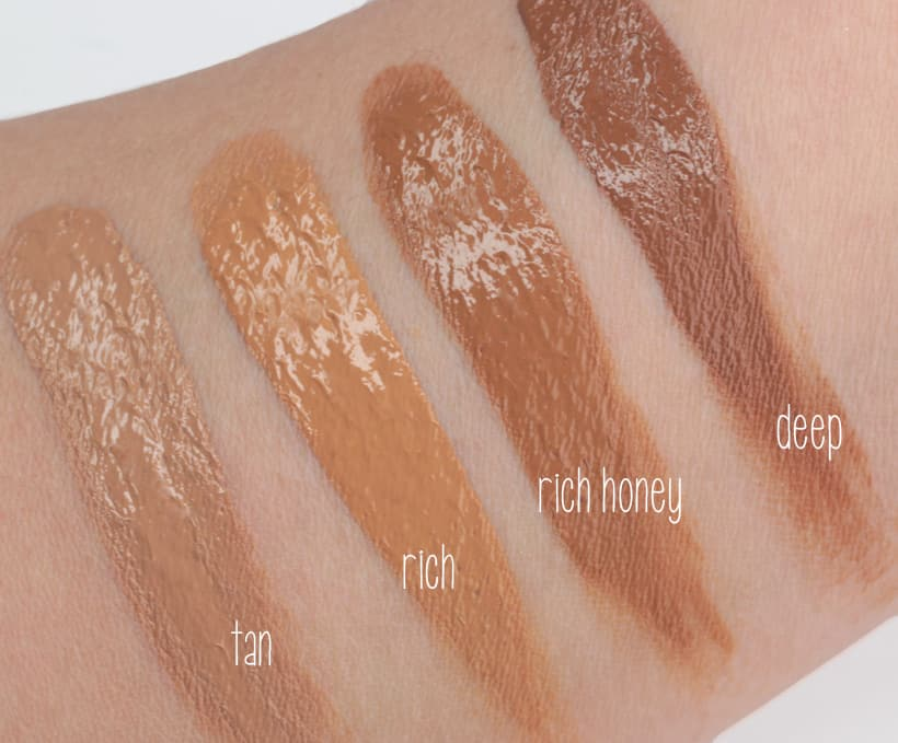 IT Cosmetics Bye Bye Foundation rich honey swatches IT Cosmetics Bye Bye Foundation: swatches of all 12 shades