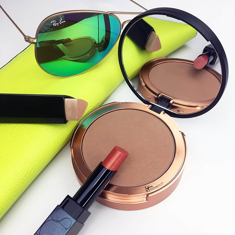 Summer Beauty Wardrobe must haves bronzer highlighter and bright lipstick