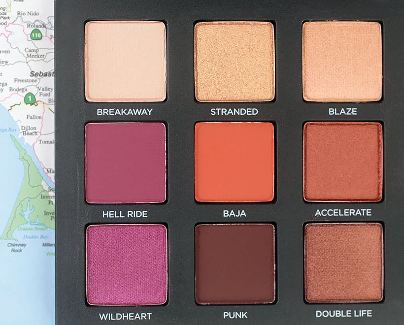 Urban Decay Born to Run Palette Stranded swatches Tramps Like Us, Baby We Were Born to Run...