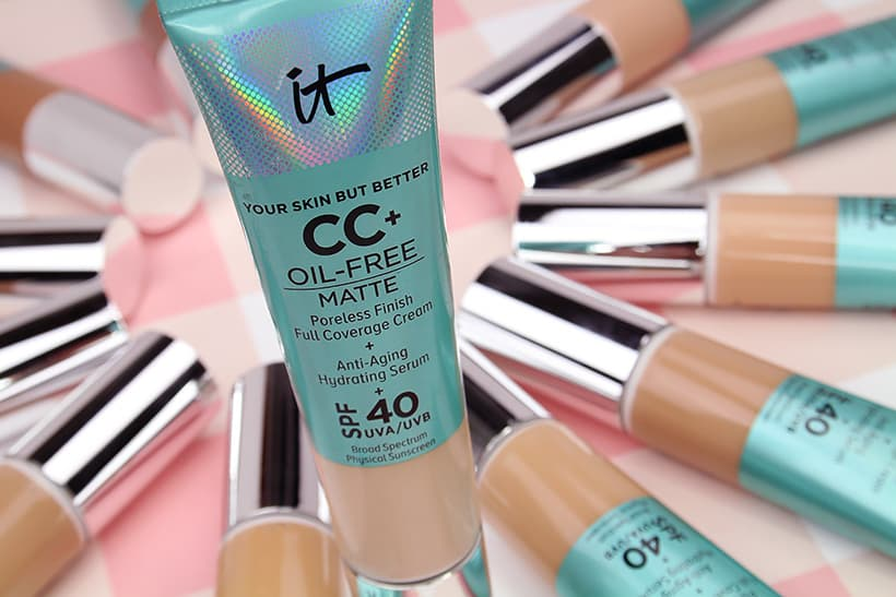 IT Cosmetics CC Cream Oil free Matte foundation packaging IT Cosmetics Your Skin But Better CC Cream Oil free Matte: swatches of all 12 shades