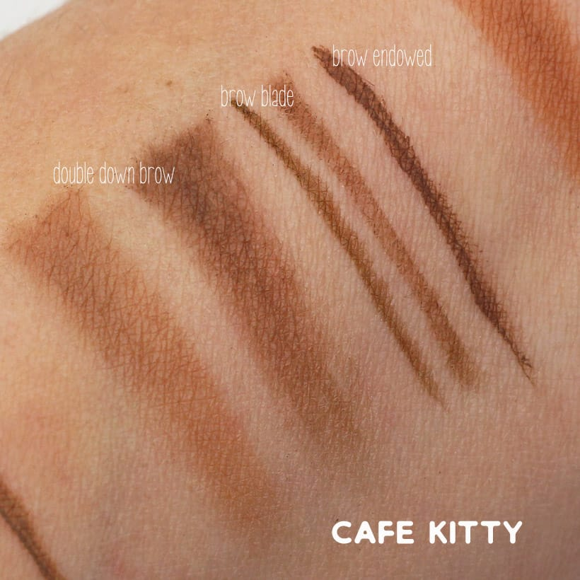 Urban Decay Cafe Kitty swatches Urban Decay Street Style Brow Collection