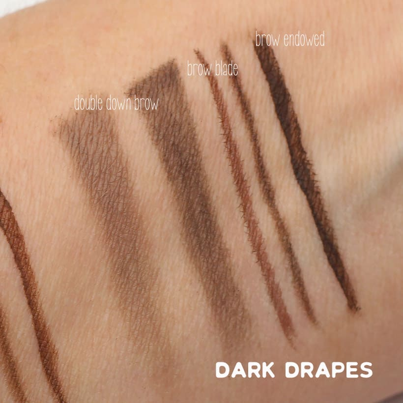 Urban Decay Dark Drapes swatches Urban Decay Street Style Brow Collection