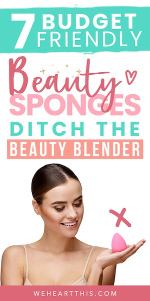 woman holding a beauty blender makeup sponge with the text best beauty blender dupes