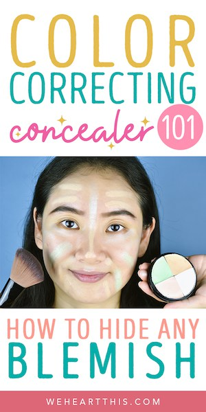 Makeup palette with the text how to use color correcting concealer