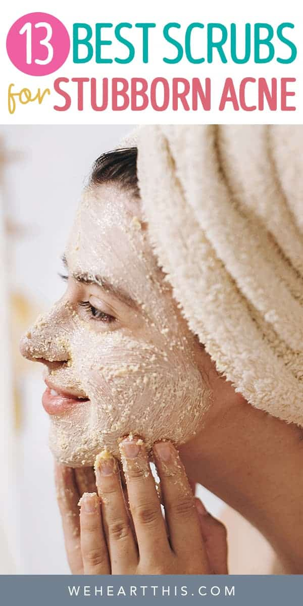 Woman with a facial scrub example of exfoliators for acne