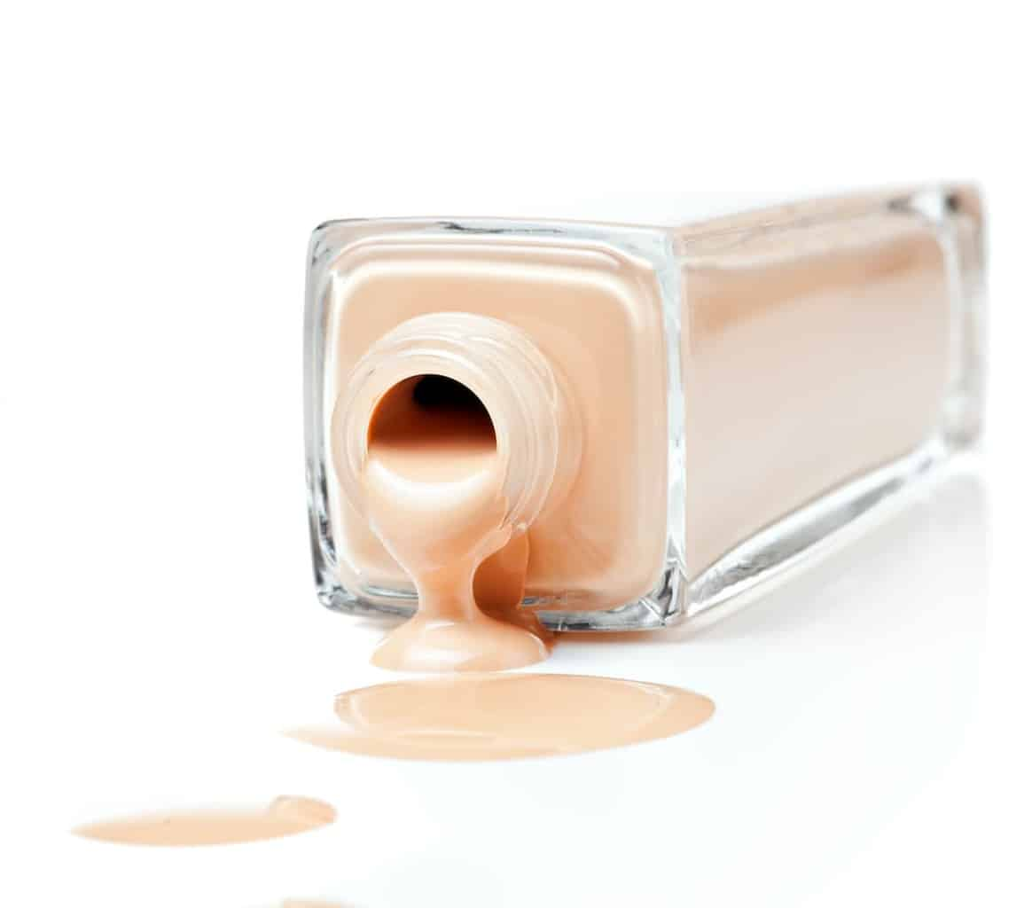 best foundation for sensitive skin poured on a white counter